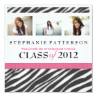 Graduation Glamour Girl Zebra Print with Hot Pink Card