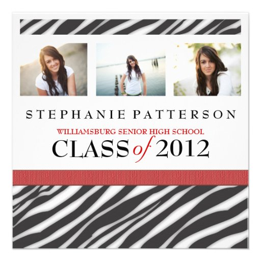 Graduation Glamour Girl Zebra Print with Red Personalized Invitation