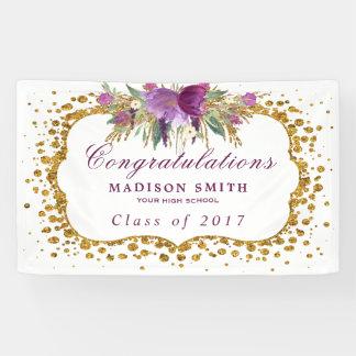 Graduation Glitter Watercolor Flower Gold Confetti Banner