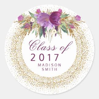 Graduation Glitter Watercolor Flower Gold Confetti Classic Round Sticker