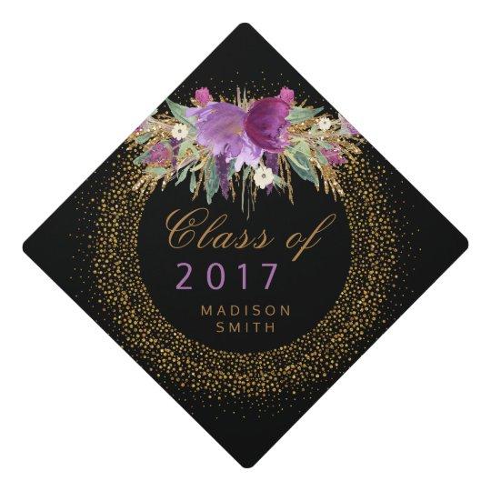 graduation glitter watercolor flower gold confetti graduation cap topper. Black Bedroom Furniture Sets. Home Design Ideas