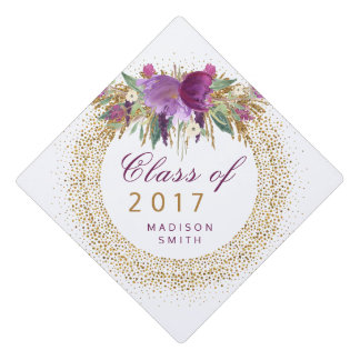 Graduation Glitter Watercolor Flower Gold Confetti Graduation Cap Topper