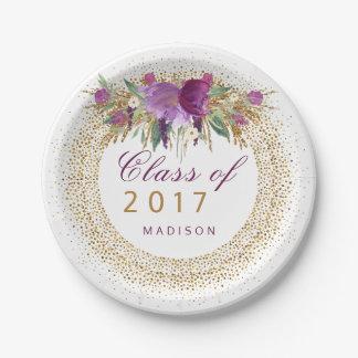 Graduation Glitter Watercolor Flower Gold Confetti Paper Plate