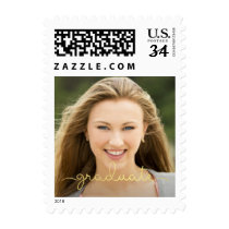 Graduation Gold Script Overlay Photo Post Card Postage