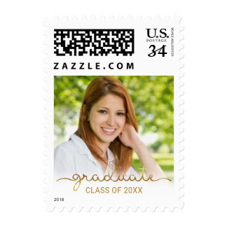 Graduation Gold White Ombre Photo Post Card Postage
