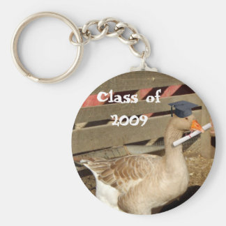 Graduation goose basic round button keychain
