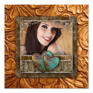 Graduation Grad Western Leather Cool Photo Hearts Card