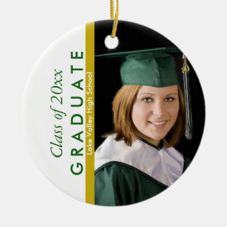 Graduation Green and White Photo Ceramic Ornament
