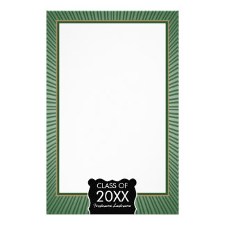 Graduation - Green Border with Class of Personalized Stationery
