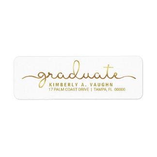 Graduation Handwritten Gold Foil Look Script Label