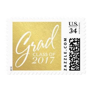 Graduation Handwritten Script Faux Gold Foil Postage