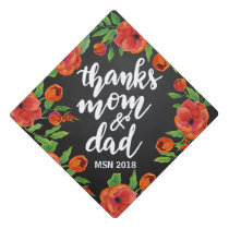 Graduation Handwritten | Thanks Mom Dad Script Graduation Cap Topper