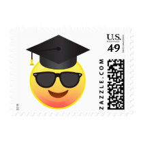Graduation Happy Emoji with Sunglasses Postage
