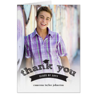 Graduation Hat Black Sketch Photo Thank You Card