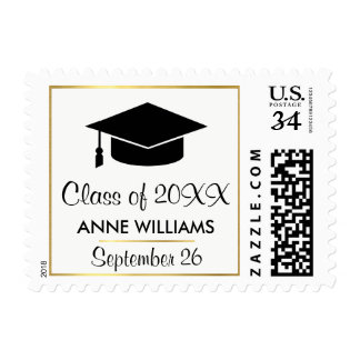 graduation hat, class of, with name, elegant postage