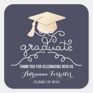 Graduation Hat Faux Rose Gold Foil Thank You Blue Square Sticker
