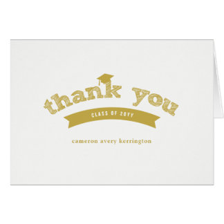 Graduation Hat Gold Sketch Photo Thank You Card