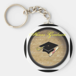 graduation hat, Honor Graduate Basic Round Button Keychain