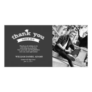 Graduation Hat Sketch Grad Photo Thank You Card Photo Card