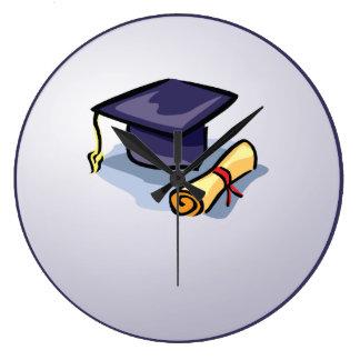 Graduation Hats in Air, Custom Round Gift Large Clock