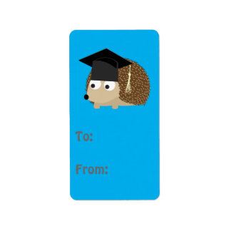 Graduation hedgehog label