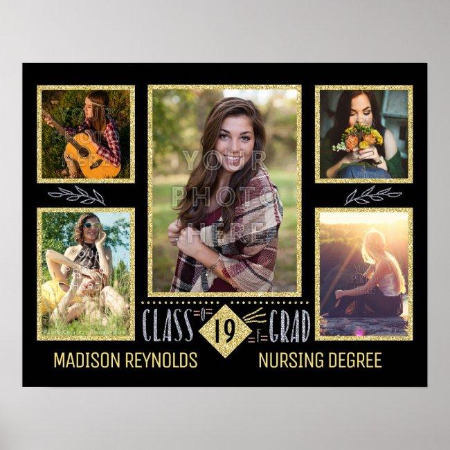 Graduation High School College Grad Photo Collage Poster