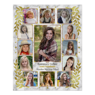 Graduation High School Photo Collage | Marble Gold Poster