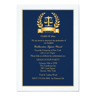 Graduation Honors Navy and White Invitation