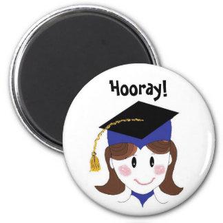 Graduation Hooray 2 Inch Round Magnet