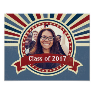 Graduation insert your photo USA vintage template Poster