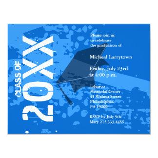 Graduation Invitation ABB231 Blue Abstract
