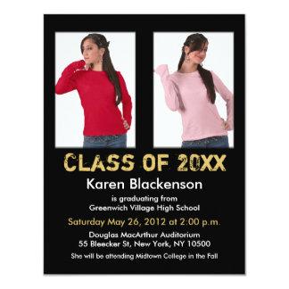 "Graduation Invitation Add 2 Image Black Gold 4.25"" X 5.5"" Invitation Card"