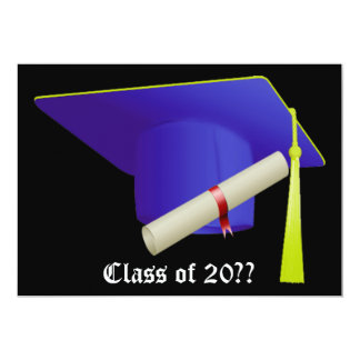 Graduation Invitation Blue Cap
