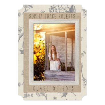 partridgelanestudio Graduation Invitation- Burlap & Antique Flowers Card
