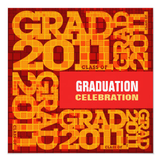 Graduation Invitation Celebrate 2011 Orange Mosaic