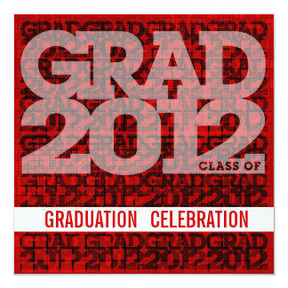 Graduation Invitation Celebrate 2012 Mosaic Red