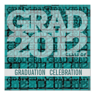 Graduation Invitation Celebrate 2012 Mosaic Teal