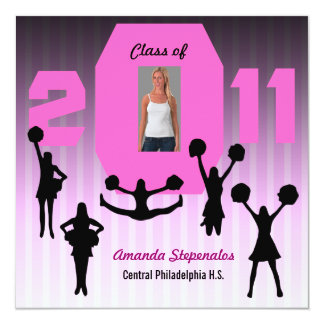 Graduation Invitation Cheerleader XCP194 Pink