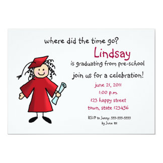 "Graduation Invitation--Girl, Red 5"" X 7"" Invitation Card"