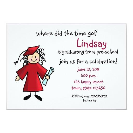 Graduation Invitation--Girl, Red Card