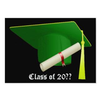 Graduation Invitation Green Cap
