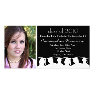 Graduation Invitation Photo Card Black Silhouette