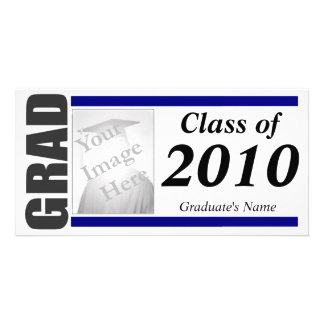 Graduation Invitation Photo Card - blue