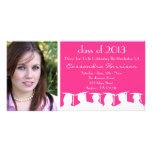 Graduation Invitation Photo Card (Pink Silhouette)
