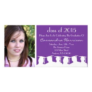 Graduation Invitation Photo Card Purple Silhouette