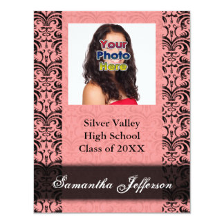 Graduation Invitation, Pink and Black Damask Card