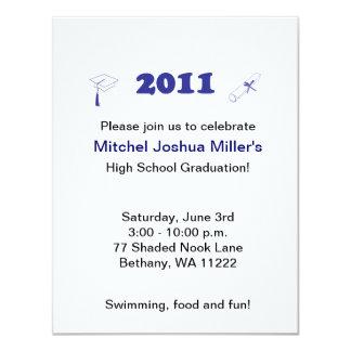 Graduation Invitation - Simple Blue