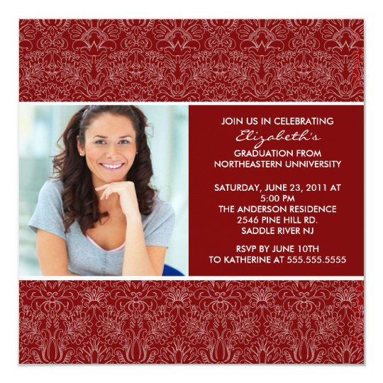 Graduation Invitation with Photo Red  Damask