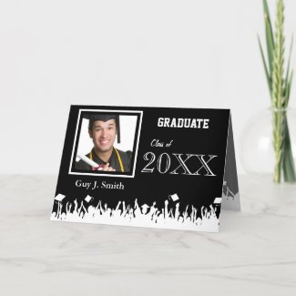 Graduation Invitation Your Photo Silhouette Crowd Greeting Card