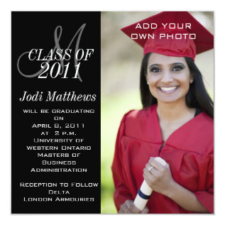 Graduation Invitations Monogram Photo at Zazzle